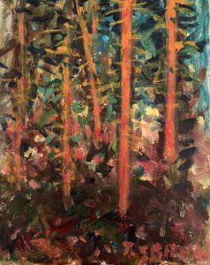 Gozd, akril / platno, 30 x 24, Tone Seifert